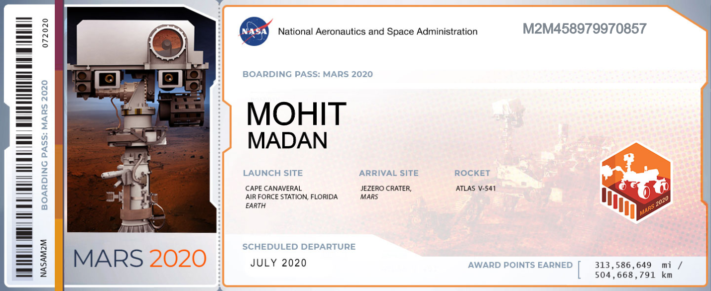 NASA Boarding Pass